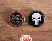 Daredevil & Punisher inspired buttons - pinback or magnets ||| Nelson Murdock Avocadoes at Law button The Defenders badge pin