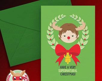A Very Supernatural Christmas Card - Sam Winchester - PRINTABLE