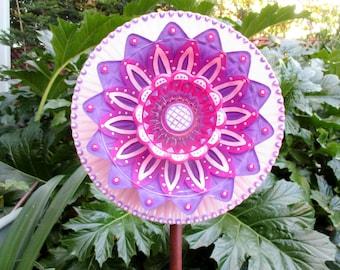 Glass Plate Flower - Re-Purposed Glass Flower Garden Art - Hand Painted in Hot Pink, Purple & Pink - Garden Stake - Yard Art - Garden Decor