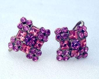 Vintage Pink Cross Rectangle Rhinestone Earrings