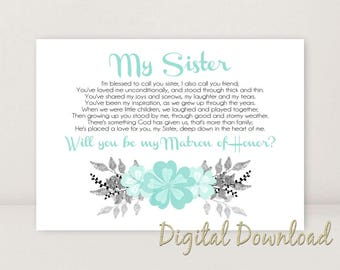 Sister Will You Be My Matron of Honor Wedding Stationary Printables Wedding Proposal BLUE 5x7 INSTANT DOWNLOAD Digital File diy