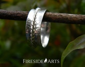 NEW - Twisted Spinner Ring. Sterling Silver Mediation Ring. Fidget Ring. Worry Ring. wide band tree bark patina hammered spinning Metalsmith
