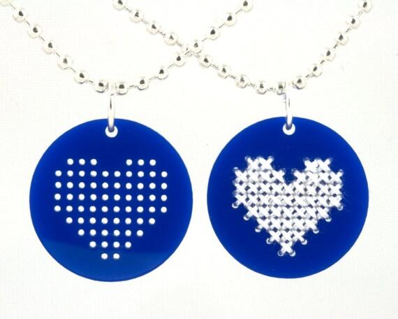 Cross Stitch Blank, Needlepoint Blank, Blue Acrylic Heart Charm for Jewelry Making, Cross Stitch Necklace, DIY Jewelry, Set of 6