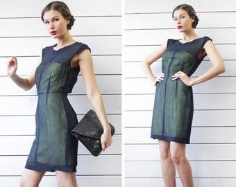 MAX Co by MaxMara navy blue semi sheer silk lime green layered slim fitted sleeveless evening mini dress S