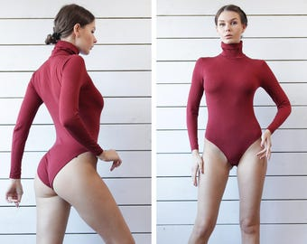 WOLFORD vintage marsala red fitted long sleeve turtle neck gymnastics leotard bodysuit blouse top S