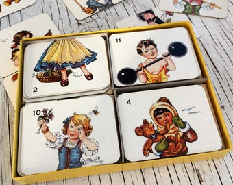 Tops and Tails: wonderful vintage complete set of children's cards, all sorts of odd, fun and amusing combinations.