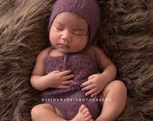 Newborn lace Mohair simple knit open back romper-newborn mohair props-many colors available