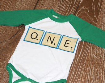 ONE, Scrabble, Words with Friends, First birthday shrit, Raglan, Ready to ship, 6-12 months, bodysuit, long sleeve