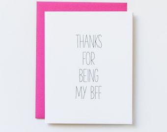 Best Friend Card, Cute Card for Friend, BFF Card, Friendship Card, Best Friend Birthday, Thank You Card, Bestie Card