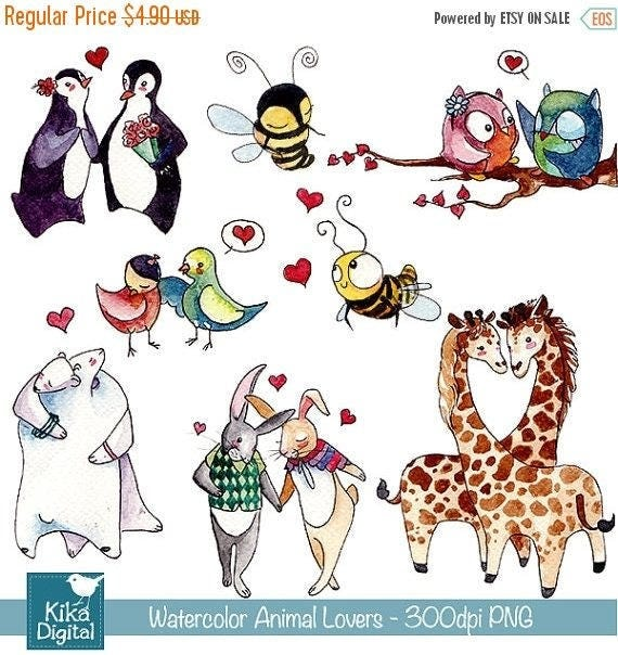 60% SALE Watercolor Love Couples Clipart - Hand Drawn Animal couples -  card design, invitations, stickers, paper crafts - INSTANT DOWNLOAD