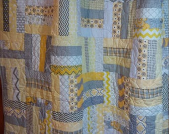 Grey and yellow quilt with a soft minky back,  baby quilt, lap quilt, couch throw, toddler quilt, gender neutral quilt
