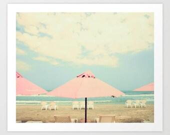 Beach art, beach print, bathroom wall art, canvas art coastal art, beach wall art, beach photography, umbrella art, coral mint, beach canvas