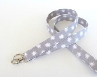 Fabric ID lanyard key holder, Light grey white dot Key ring, Teacher gift Nurse's Lanyard