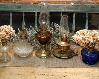 Vintage Lot of Brass and Glass Oil Lamps / Home Decor / Repurpose / AS IS