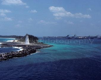 Ocean Nassau Bahamas Lighthouse Island Beach Rocks, Travel Photography, Fine Art Photography matted & signed 5x7 original photograph