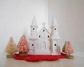 White Christmas Cathedral Church, Fairy Garden Christmas decor
