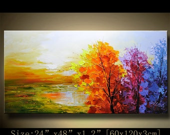 contemporary wall art, Palette Knife Painting,colorful tree painting,wall decor  Home Decor,Acrylic Textured Painting ON Canvas by Chen 1123