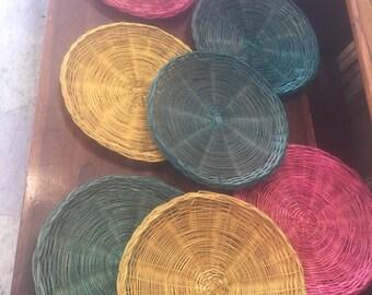 Vintage boho boheimian basket plate wall art ethnic colorful hanging set 7