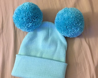 Blue Pom Pom Beanie, Mouse Ears Beanie, Double Pom Pom Beanie, Beanie, Blue