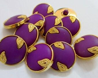 12 Vintage 20 mm Dark Purple Tone and Gold Rim Round Shank Button