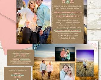 Pretty Photo Wedding Invitation - Custom Wedding Invitation Set - rustic, mint and coral, classic design with engagement photos, LDS wedding