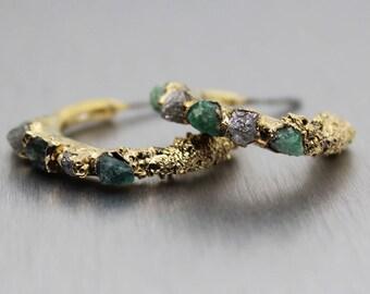 SUMMER SALE emerald earrings, diamond earrings, raw emerald, raw diamond, gold earrings, hoop earrings, gold hoops, gifts for her, raw gem j