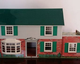 Vintage Tin Litho Dollhouse -- 1960s-1970s Glamour, 6 Rooms inc. Laundry Room, Upper Patio, Bay Window, May Be Marx, No Chimney or Door