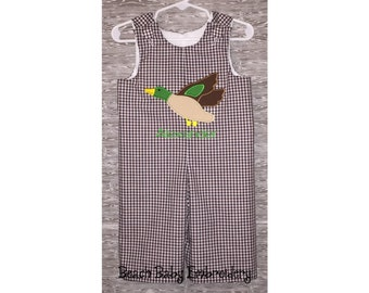 Mallard Duck Monogrammed Jon Jon Shortall, Longall, or Baby Bubble Romper, Many Colors, Many Sizes, Made-to-Order Custom Boys Outfit