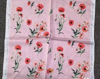 Nina Ricci scarf/handkerchief, pink poppies.
