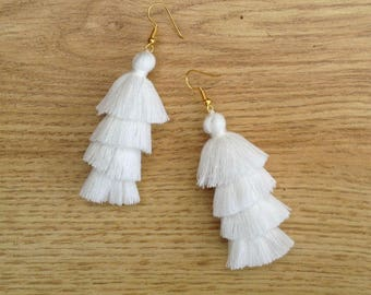 "Pure White Tassel Earrings Layered White Tassle Earrings Tassel Drop Earrings Summer Jewelry 3"" Tassel Earrings"