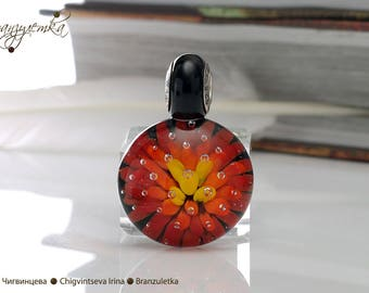 Flame - pendant Beads lampwork artisan implosion transparent red orange yellow black - Charm with a large hole - 925 silver core