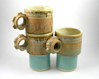 Stackable Coffee mugs stackingcups in Rust and teal  set of 3