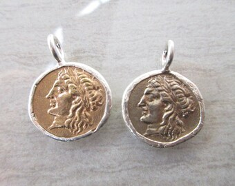 1pc Replica Ancient Greek coin pendant 20mm x 27mm Gold tone or platinum tone Bronze coin with sterling silver mounting ROM02