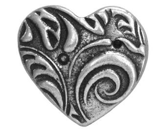 3 TierraCast Amor 5/8 inch ( 15 mm ) Pewter Buttons Antique Silver Color