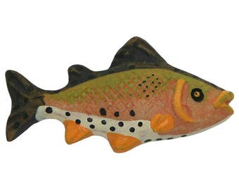 6 Rainbow Trout Fish 1 and 1/4 inch ( 32 mm ) Novelty Sewing Buttons