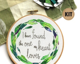 I Have Found the One, DIY Gift, Embroidery Kit, Gift for Newlywed Couple, Song of Solomon Embroidery Pattern, Craft Kits, Cotton Anniversary