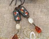 1920's Art Deco Earrings Micro Mosaic MOP Amber
