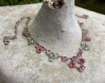 1920 Art Deco Necklace, Art Nouveau Pink Ice Rock Crystal Bridal Choker