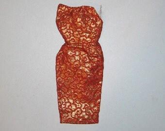 Vintage BARBIE Brocade Golden Elegance Red and Gold Sheath Dress