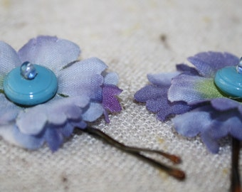 Lavender Purple Green With Blue And Teal Beaded Centers Hair Flowers on Vintage Brown Toned Bobby Pins-set of 2