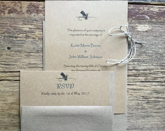 Fishing Wedding Invitations, Fly Fishing Invites, Camo Wedding, fishing invitations, rehearsal dinner fishing invitations