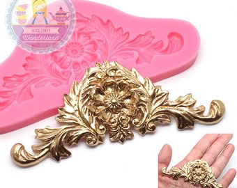 Baroque Damask Scroll Crown Silicone Mold 489L Fondant Gumpaste Polymer Clay fimo Cookie topping Chocolate Melts Flexible Mold BEST QUALITY