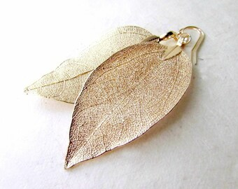 Gold Leaf Earrings. Delicate Gold Earrings with Shimmering Natural Leaves. Ethereal Wedding Earrings. Long Gold Dipped Leaf Dangle Earrings