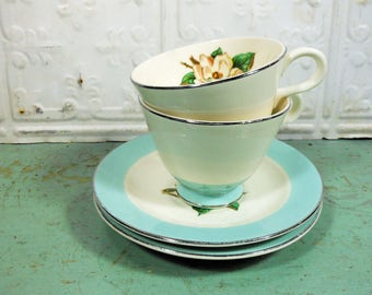 Vintage Turquoise Lifetime China Magnolia Cups and Saucers, Set of 2, Homer Laughlin