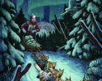 Cat Sledding Iditarod Illustration 12x16