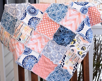 Baby Rag Quilt- Ready to ship quilt, Peach rag quilt, Navy blue rag quilt, baby girl rag quilt, unique rag quilt, One of a kind rag quilt