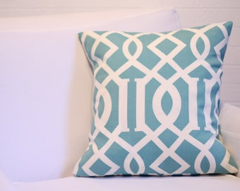 "CYBER MONDAY SALE: 17x17"" Teal Imperial Lattice Pillow Cover"