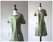 Darling Green Plaid Drop Waist Vintage 1960s Shift Dress / Mod Scooter Dress