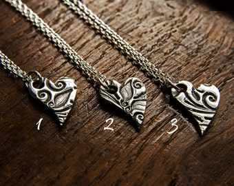 Heart necklace, fine silver heart pendant, floral heart, Mother's Day gift, gift for her, ready to ship,