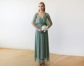 Sage green sheer lace maxi dress, Maxi lace gown with bat sleeves, 2 in 1 lace formal dress 1044